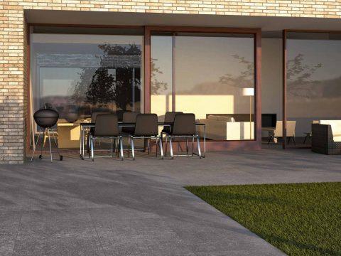 Terrassenplatten mit fixer Verklebung mit Drainagemörtel und Flexkleber